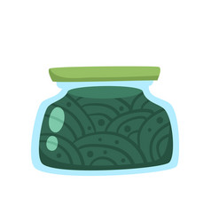 Preserved food in glass jar cartoon vector