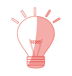 Red silhouette shading modern light bulb on with vector