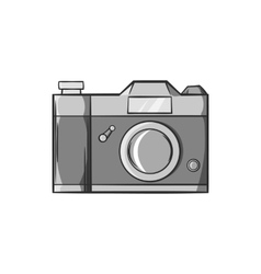 Retro photo camera icon black monochrome style vector image
