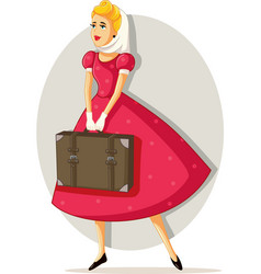 retro travel girl cartoon vector image
