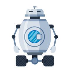 robot laundry on wheels cartoon icon vector image