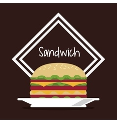 Sandwich frame bread lunch snack icon vector