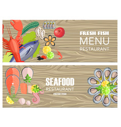 seafood restaurant menu with delicious fesh fish vector image