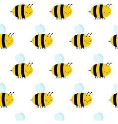 seamless pattern with flying bees on a white vector image