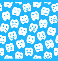 seamless pattern with happy teeth vector image