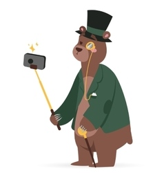 Selfie photo bear business man portrait vector image
