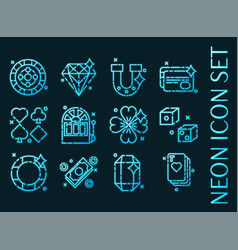 set casino blue glowing neon icons vector image