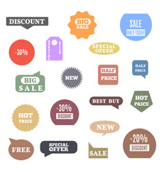 set colored label discount and sale vector image
