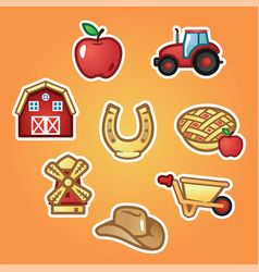 set flat stickers farm house and tractor farming vector image
