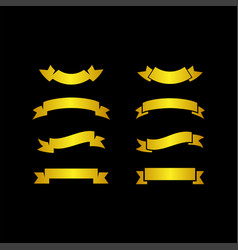 Set gold ribbons banners on black background vector