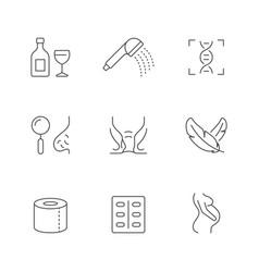 Set line icons hemorrhoid vector