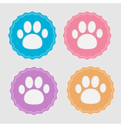Set of four labels with paw print Card vector image