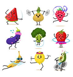Sports fruit characters set of cute healthy vector