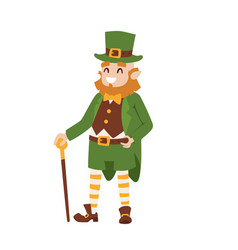 St patricks day leprechaun man character cartoon vector