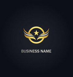 Star wing emblem round gold logo vector