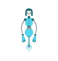 Thin Blue Floating Mid Air Friendly Android Robot vector