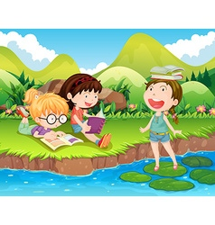Three girls reading books by the river vector image