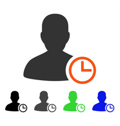 User clock flat icon vector