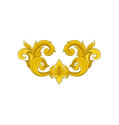 vintage baroque ornament in golden color elegant vector image