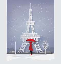 Winter season with the girl open red an umbrella vector