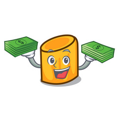 With money bag rigatoni mascot cartoon style vector