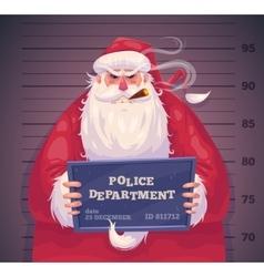 Bad santa in police christmas greeting card vector