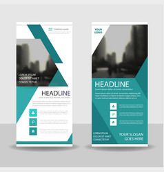 blue triangle roll up business brochure vector image