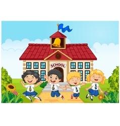 Happy school kids in front of school bilding vector