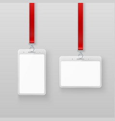 identification white empty blank plastic id cards vector image