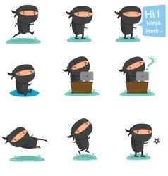 Ninja Mascot set 2 vector image