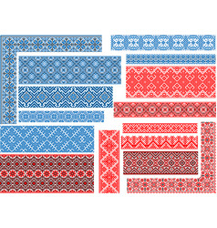 set of 15 seamless ethnic patterns for embroidery vector image vector image
