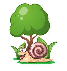 Snail animals tree grass cartoon characters vector
