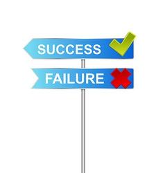 success unsuccess road sign indicator vector image vector image