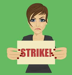 angry young businesswoman holding strike banner vector image vector image