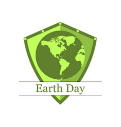earth shield continents earth day banner green vector image vector image