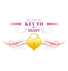 Happy Valentines day border locked golden heart vector image vector image