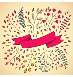 set of branches and ribbons in modern style vector image vector image