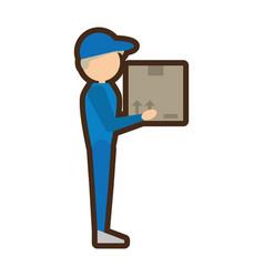delivery man handing box vector image