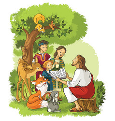 jesus reading the bible to children and animals vector image vector image