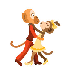 two funny monkeys dancing salsa vector image