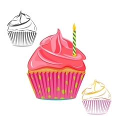 Birthday candle cupcake set vector image vector image
