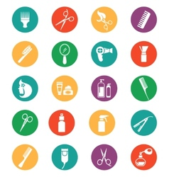 Colored Hairdressing Equipment Icons vector image