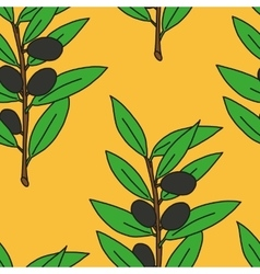 Seamless pattern olive branch vector image