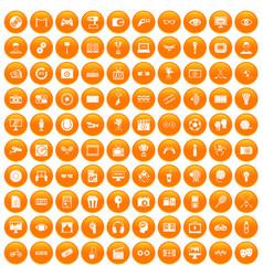 100 video icons set orange vector image