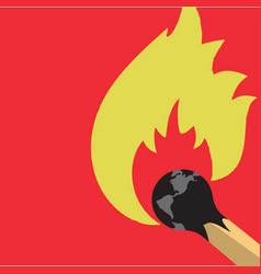 a burning globe at the end of a match vector image