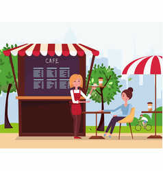 a young girl waiter brought an order to client vector image