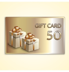 abstract golden gift card with two boxes vector image