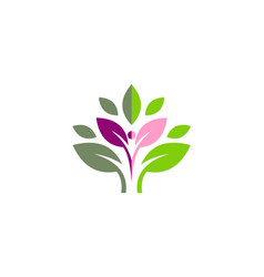 Active people green leaf organic logo vector