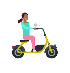African girl riding electric scooter over white vector