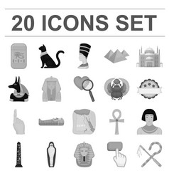 Ancient egypt monochrome icons in set collection vector